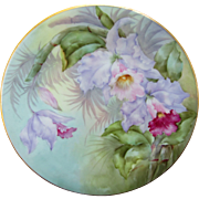 """Limoges H.P. 8 1/2"""" Plate- Cattleya Orchids with Pastel Background- artist signed """"Metzerott"""""""