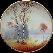 "Osborne Art Studio H.P. ""Autumn Birches with Lake in Background"" Vellum Cake Plate- signed ""Osborne"""