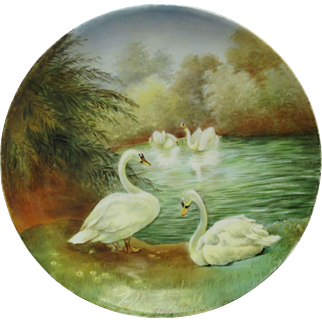 "Bavaria H.P. 8 1/2"" Scenic ""Swans  On A Lake"" Cake Plate by Pickard Artist Paul Gasper"