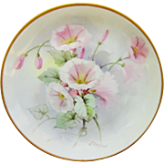 "Pickard H.P. 8 ½"" Plate w/Pink Morning Glories- signed ""E. Challinor"""