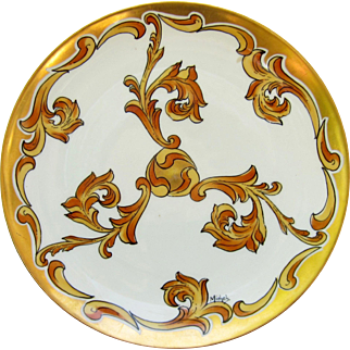 "J.H. Stouffer Company 8 ¾"" Plate with Gold & Amber Plumes by Pickard Artist Harry E. Michel"