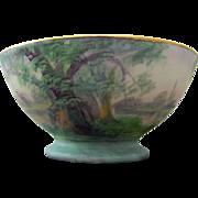 "Pickard H.P. Scenic Vellum Water Landscape Pedestalled Bowl- artist signed ""E. Challinor"""