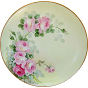 "Thomas Bavaria 8 ½"" Pink & Red Roses Plate- artist signed ""W. Wilson"""