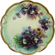 "Limoges H.P. 11 ¾"" Violets Scalloped Gold Edge Charger"