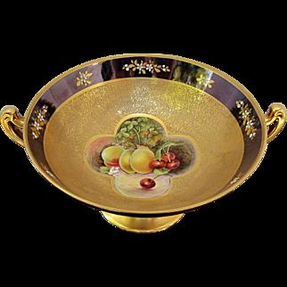 """Pickard H.P. 10"""" """"Fruit Panels"""" Pedestalled Handled Bowl- signed """"Vokral"""""""