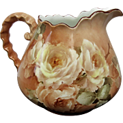 Antique 1907 Hand Painted Cider Pitcher with White Roses