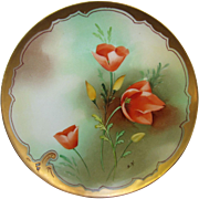 J.H. Stouffer Company H.P. Plate w/Orange Tulips by Pickard Artist Samuel Heap (1906-1914)