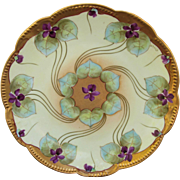"""Pickard H.P. 8 ½"""" Plate w/ Violets Radiating From Center by Artist Harry E. Tolley (1903-1905)"""