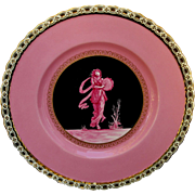 """Minton 8 ¾"""" Plate with Neoclassical Scene & Pink Background"""