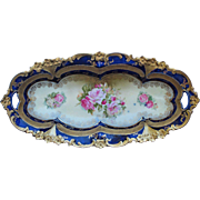 "R.S. Prussia 12 ¼"" Cobalt Celery Tray w/ Roses and Gold Décor"