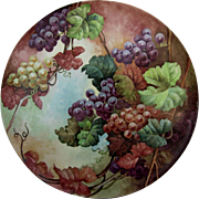 "Tremendous 18"" Limoges H.P. Plaque w/ Purple, Red and White Grape Décor"
