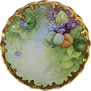 J.H. Stouffer Company H.P. Plate w/ Violets by Pickard Artist Edith Arno (1905-1906)