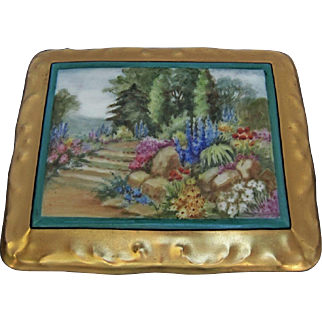 """Limoges H.P. Playing Card Box w/Scenic Landscape and Gold- artist signed """"PR Gibbs"""""""