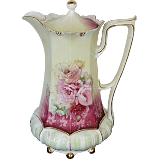 R.S. Prussia Ball Foot Chocolate Pot w/Roses & Red