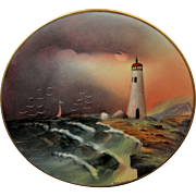 "Edward Donath Studio H.P. 8 ¼"" ""Lighthouse w/ Rocky Coastline"" Landscape Plate by Adolph Heidrich"