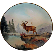 """Edward Donath Studio H.P. 8 ¼"""" """"Stag Overlooking Lake, Mountains, Pines In Foreground"""" Plate by Adolph Heidrich"""