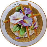 "Pickard H.P. 8 ¾"" Morning Glory Plate by artist Jacob Kiefus (1903-1905)"