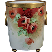 "Limoges H.P. 12 ½"" Cache Pot w/ Orange Poppies by Chicago Artist ""Osborne"""