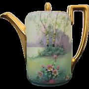 """Pickard H.P. """"Wildwood"""" Scenic Vellum Teapot by Artist Curtis Marker"""