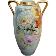 "H.P. Austrian 15 ½"" Pink & Yellow Roses Handled Vase"