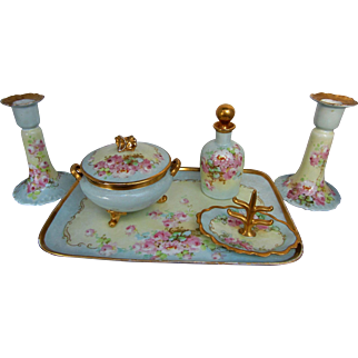 "Limoges/Bavarian H.P. Pink Roses w/ Light Blue & Gold Dresser Set w/ Candlesticks by artist ""Kimmel"""