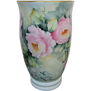 """H.P. Limoges Vase with Pink Roses- Artist Signed """"Rosemary"""""""