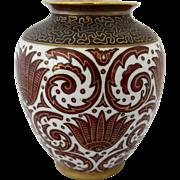 "PMR Bavaria Jaeger & Co. Germany Vase w/Scroll Design- Artist Signed ""Gustav Rosenstangl"""