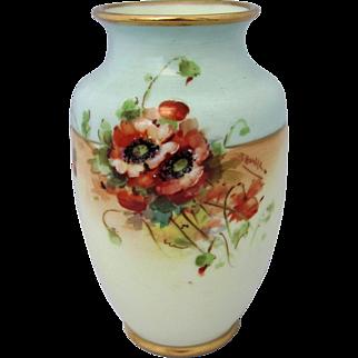 "H.P. Fraunfelter Ohio China 6 ¼"" Vase with Poppies & Light Blue Background- Artist Signed ""J. Henke"""