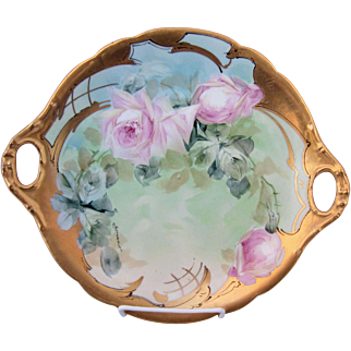 "Pickard H.P. 11 ¾"" Pink Naturalistic Roses Cake Plate by Artist Andrew Motzfeldt"