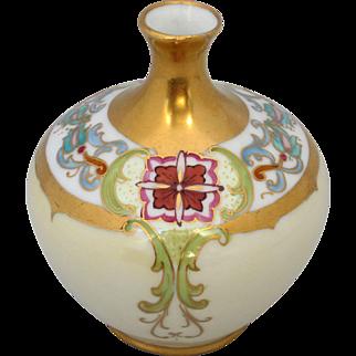 O.&E.G. Austria Hand Painted Vase w/Art Nouveau Décor & Gold