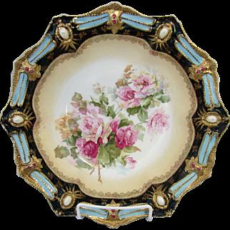 "R.S. Prussia 10 ½"" Ribbon and Jewel Mold Bowl w/Roses- Deep Powder Blue Trim"