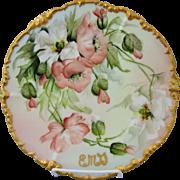 "Limoges H.P. Ester Miler 9 1/2"" Cake Plate with Orange Poppies"