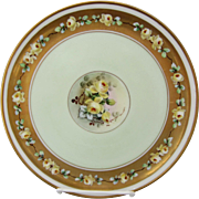 "White's Art Co. H.P. 9 1/4"" Cake Plate with Yellow Roses & Gold- artist signed ""POL"""