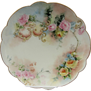 """Limoges H.P. 9"""" Cake Plate with Roses"""