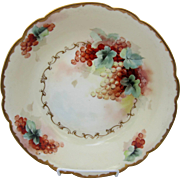 "Pickard H.P. 9 3/4"" Bowl with Currants by artist Minnie Pickard ""M.P."""