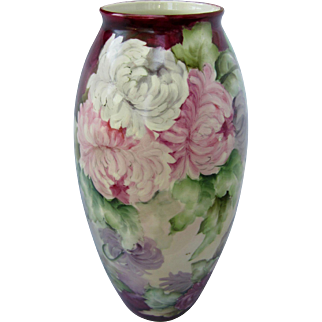 "Hand Painted 15 1/4"" Chrysanthemums Vase"