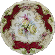 "R.S. Prussia 10 ¾"" Bowl with Roses and Red"