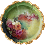 "Pickard H.P. Pink and White Naturalistic Roses Bowl by Thomas Jelinek ""TMJ"""