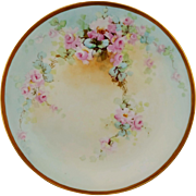 """Limoges H.P. 11 ½"""" Pink Roses w/Light Blue & Gold Charger by artist """"Kimmel"""""""