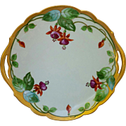 "Donath Studio H.P. 10 ¾"" Cake Plate with Fuchsias- signed ""King"""