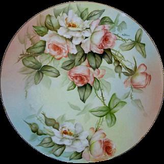 "Limoges H.P. 11 ½"" Plaque w/ Peach Roses- signed A.L. Bohne"""