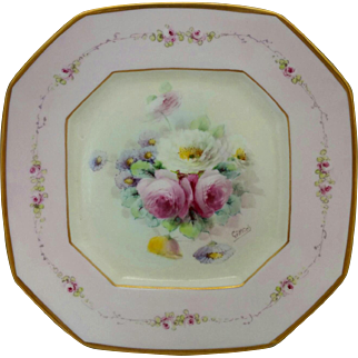 """Pickard H.P. 9 ½"""" Octagonal Plate w/Roses and Pink Decor -signed """"Gottlich"""""""
