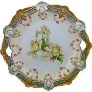 """R.S. Prussia 10 ½"""" Ribbon and Jewel Mold Cake Plate- Robin's Egg Blue with Yellow Roses"""