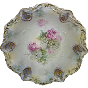 "R.S. Prussia 10 ¾"" Satin Finish Bowl with Roses and Snowballs"