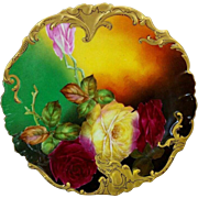 "Limoges H.P. 8 ½"" Red and Yellow Roses Cake Plate by artist ""Rousset"""