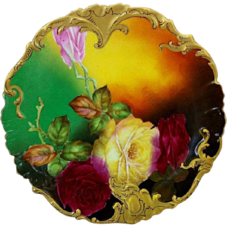 """Limoges H.P. 8 ½"""" Red and Yellow Roses Cake Plate by artist """"Rousset"""""""