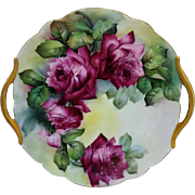 """Limoges H.P. 10 ¾"""" Red Roses Open Handled Cake Plate"""