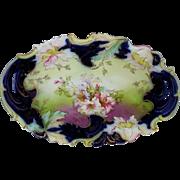 "Saxe Altenburg Germany 12 ½"" Cobalt Bun Bowl w/Embossed Floral Decor"