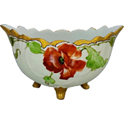 J.H. Stouffer Company H.P. Footed Bowl with Poppies