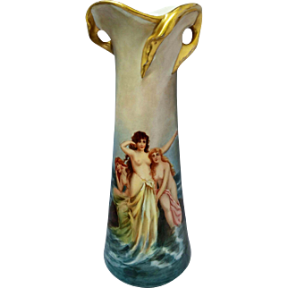 "Austrian 14"" H.P. Twisted Gold Handled Vase with 3 Nude Greek Sirens on the Rocks"